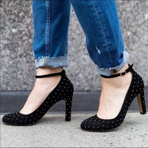 Sezane Gold Dotted Ankle Strap Heels Size US 8.5